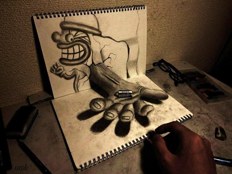 Nagai hideyuki l 39 art de l 39 illusion 3d en dessin for Dessin 3d