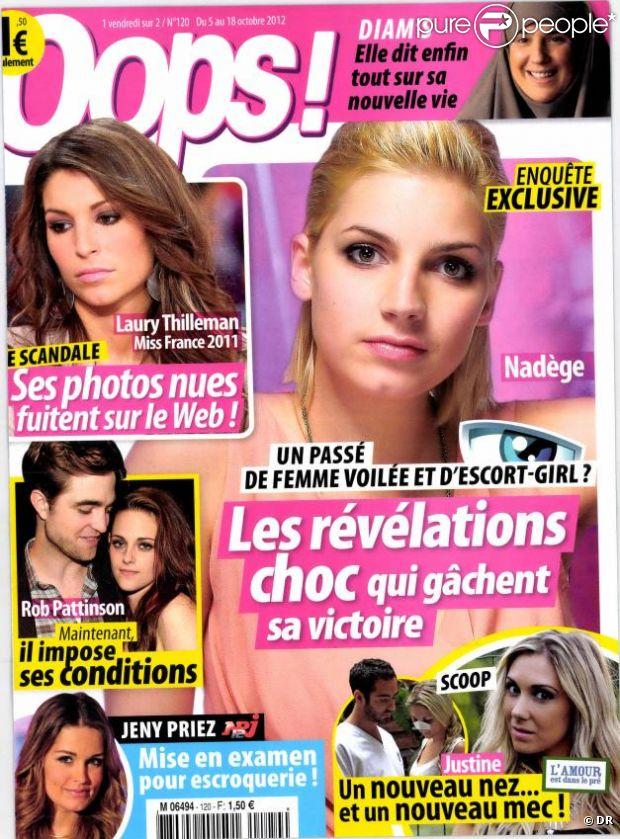 Couverture du magazine Oops! octobre 2012 avec Laury Thilleman nue.