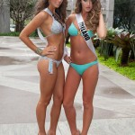 Laury Thilleman sexy en bikini. La miss france 2011 en maillot de bain pose avec miss Ireland. Photo sexy nue Laurie Thileman.