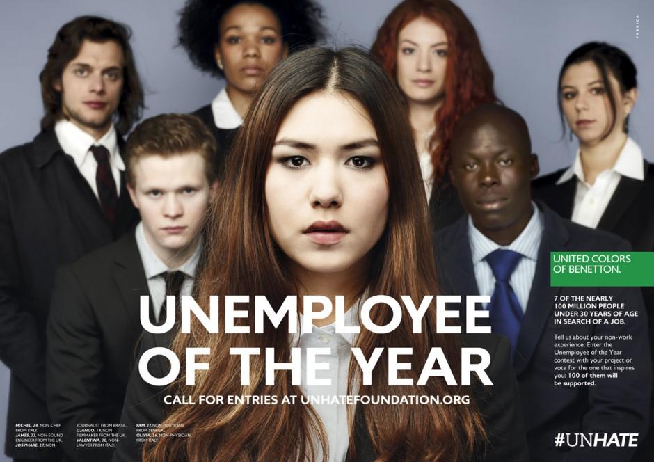 Concours du chômeur de l'année 2012. Campagne Benetton Unhate : Unempoyee of the year.