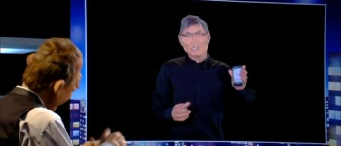 Humour iphone 5 apple. Caricaturedes guignols : Apple, nous c'est la pomme, vous c'est les poires.