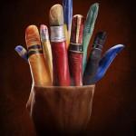 Illusion photo et peinture sur main par Ray Massey : 02 pot de pinceaux