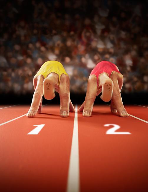 Illusion photo et peinture sur main par Ray Massey : 07 sprinteurs