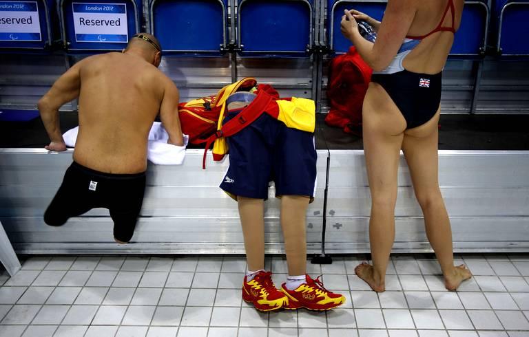 Xabi Torres après un entrainement de nage.