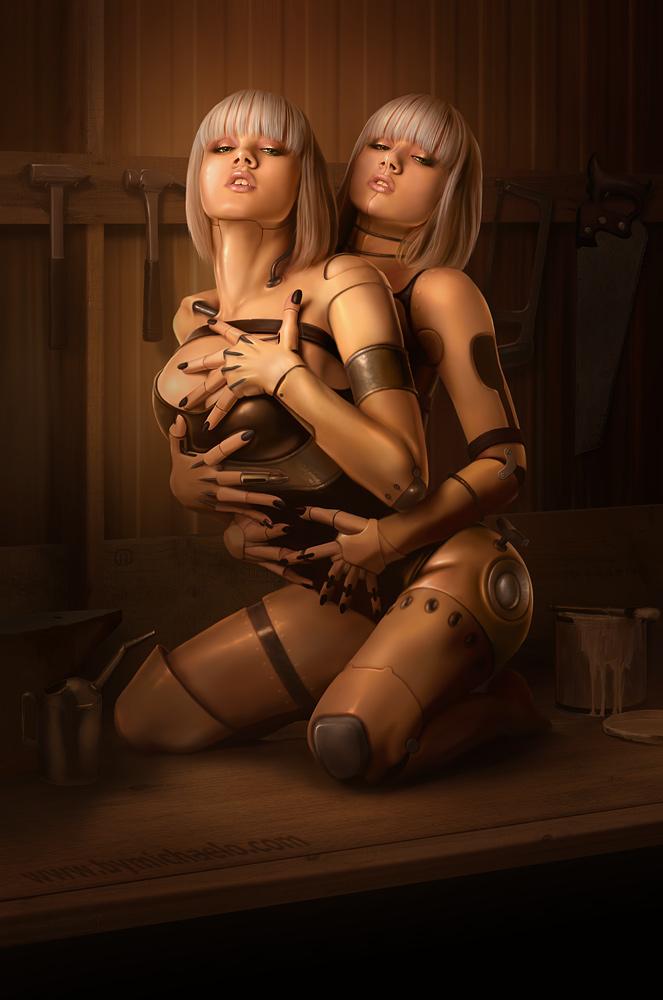 Femmes bioniques lesbiennes thinker toy par michaelo.