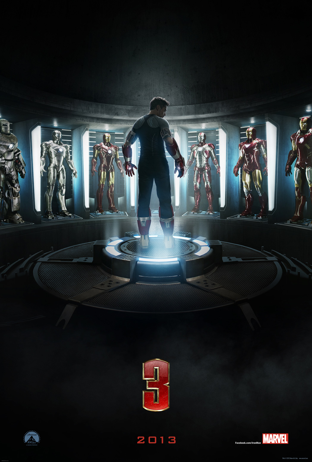 Affiche teaser officielle du film Iron Man 3. Sortie le 1er mai 2013 en france. Tony Stark, Robert Downey Jr.