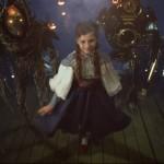 Petite fille entourée de 2 monstres épouvantail de braises et robot. The Green Ruby Pumpkin : court-métrage fantastique d'Halloween par Miguel Ortega.
