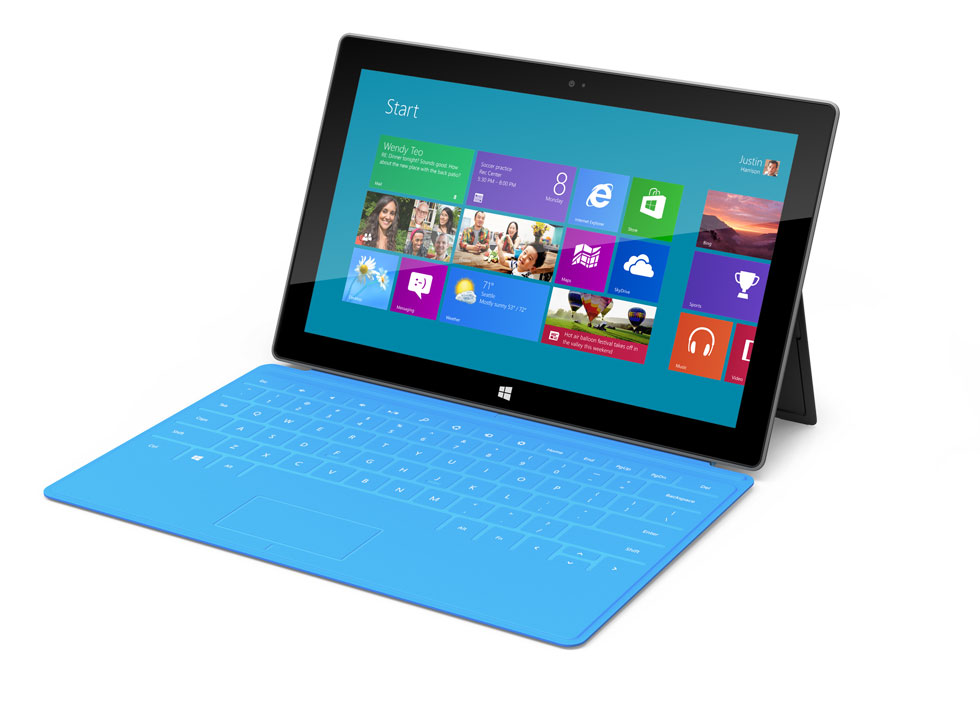 Tablette Microsoft Surface Windows 8 bleu azur.