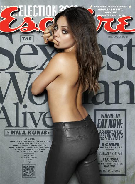 Mila Kunis élue femme vivante la plus sexy en 2012 par Esquire. Sexiest Woman Alive 2012. Couverture Magazine octobre.