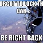 Parodie Red Bull Stratos. Détournement du saut de Felix Baumgartner depuis l'espace. Humour. Oublié de fermer ma voiture.