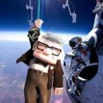 Parodie Red Bull Stratos. Détournement du saut de Felix Baumgartner depuis l'espace. Humour avec carl fredricksen la haut pixar.