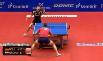 Ping-pong. Championnat d'Europe de tennis de table 2012. Balle de match Timo Boll vs. Andrej Gacina.