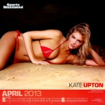 Calendrier Sports Illustrated Swimsuit 2013. Avril : Kate Upton Sexy en bikini rouge. Maillot de bain seins nue topless.