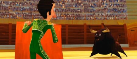 Un toréador face à un taureau. The suit of light : court-métrage d'animation sur la corrida.