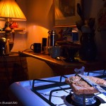 Une souris explore une cuisine la nuit. Alexander Badyaev : Midnight snack.