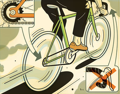 Schéma explicatif du fonctionnement d'un vélo à pignon fixe. Explication vélo à pignon fixe. Fixed gear bike.