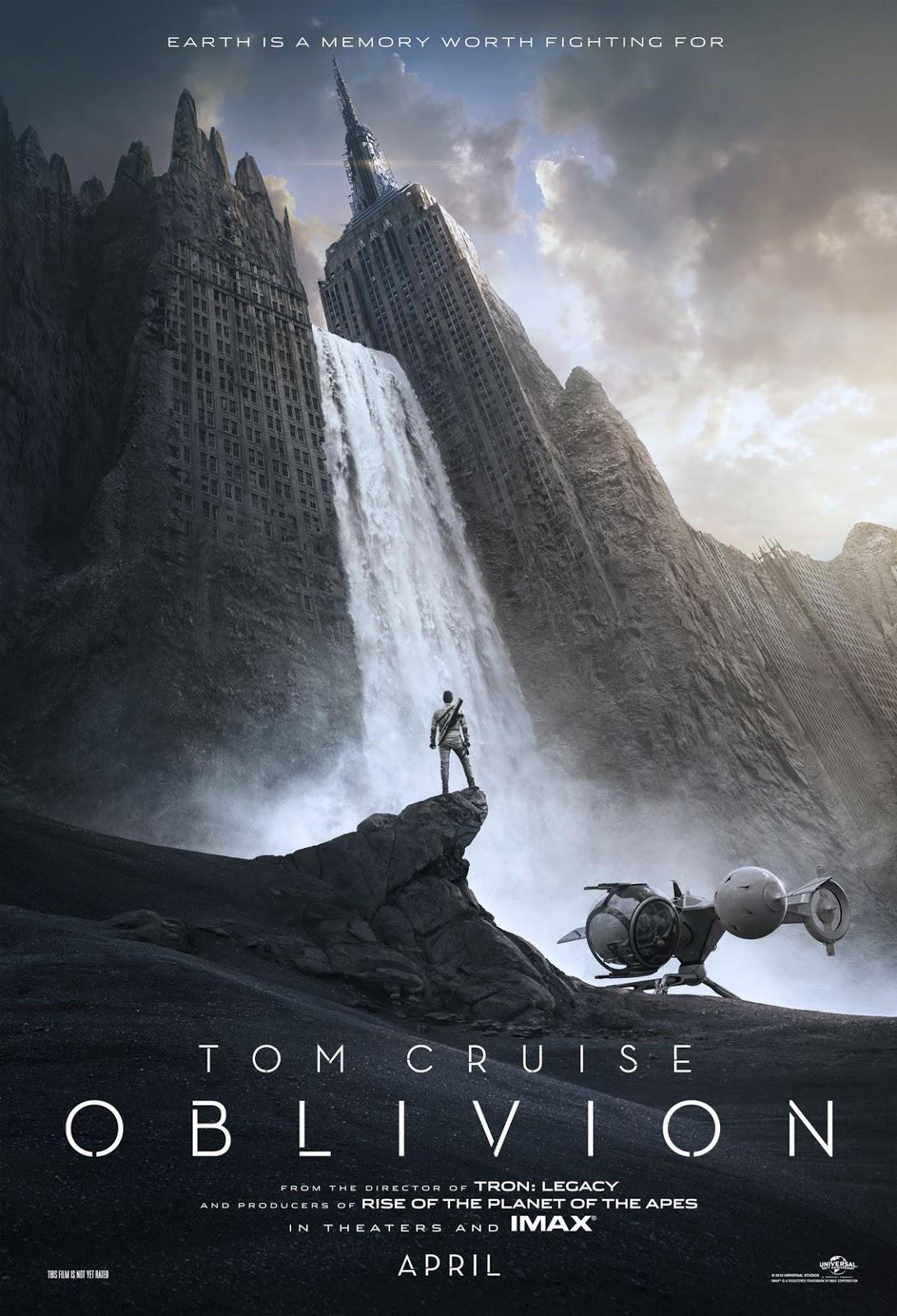 Affiche officielle du film de science-fiction 2013 Oblivion avec Tom Cruze en HD (Haute Définition).