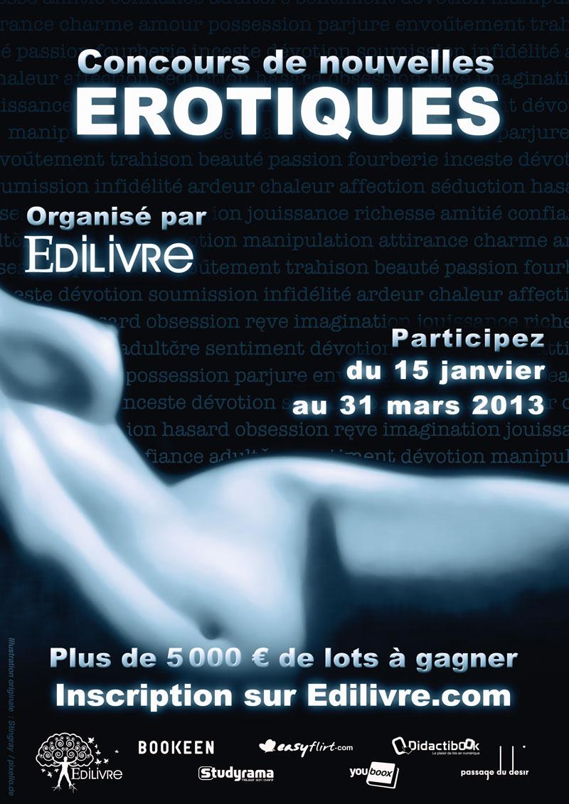 Affiche du concours de nouvelles érotiques Adilivre 2013. Littérature sexy.