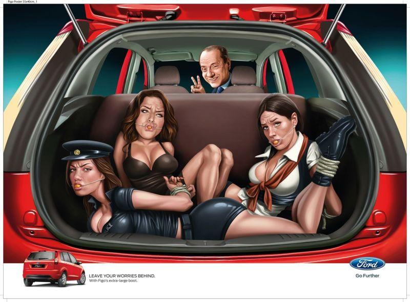 Pub Ford Figo Inde choc parodie Silvio Berlusconi prostituées humour
