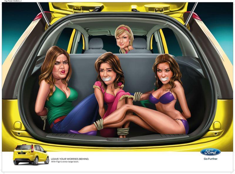 Pub Ford Figo Inde choc parodie Paris Hilton Kim Kardashian humour