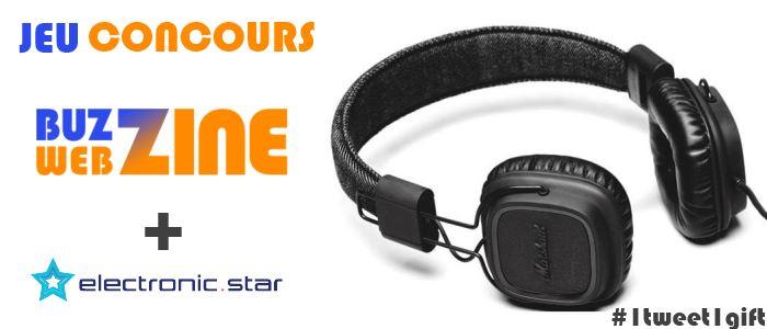 #1tweet1gift : jeu-concours buzzwebzine + Electronic Star pour gagner un casque Marshall Major Pitch Black
