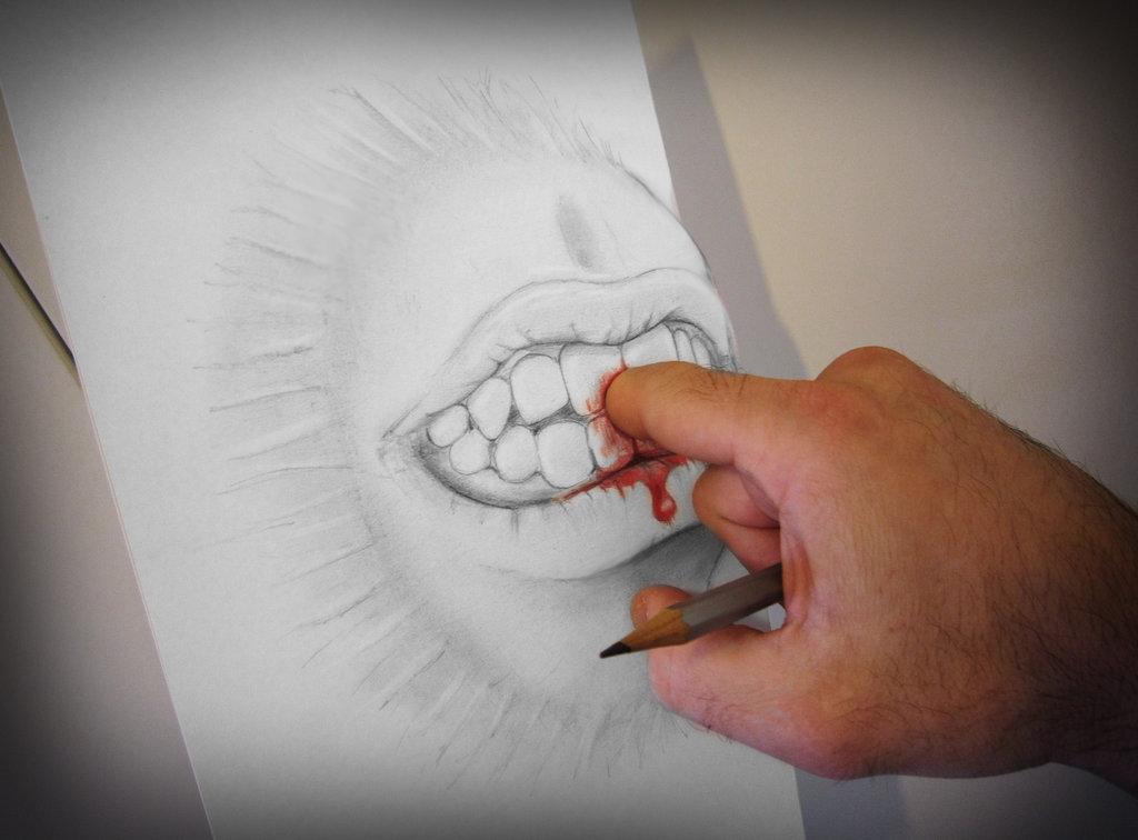 dessin 3d d'Alessandro Diddi qui se fait manger un doigt par son dessin