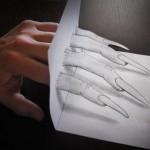 Prolongement de la main d'Alessandro Diddi en dessin 3D