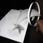 dessin 3d : un dauphin saute dans un anneau. Alessandro Diddi.