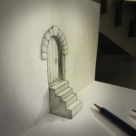 14_dessin_3d_door_and_stair_anamorphosis_Alessandro_Diddi