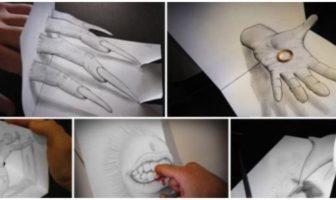 Dessins en relief d'Alessandro Diddi Croquis crayon à papier illusion 3d.