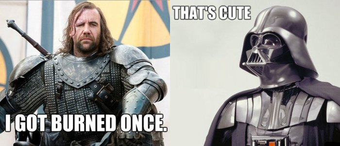 Clash Star Wars / Game of thrones : Darth Vader vs. Sandor Clegane alias The Hound ou The dog