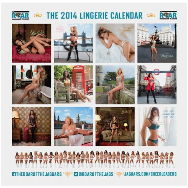 "Aperçu des 12 mois du calendrier sexy 2014 ""the roar of the jaguars"". Chearleeders en lingerie à Londres."