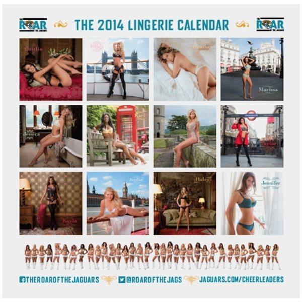 """Aperçu des 12 mois du calendrier sexy 2014 """"the roar of the jaguars"""". Chearleeders en lingerie à Londres."""