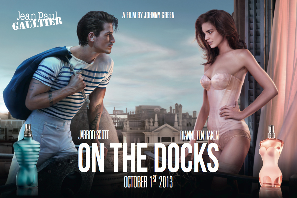 """Jean-paul Gaultier parfum : le film publicitaire """"sur les quais"""" (on the docks) avec Jarrod Scott et Rianne Ten Haken"""
