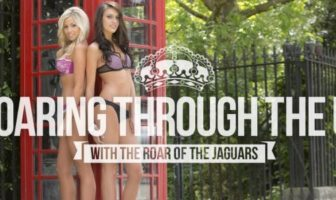 "Shooting du calendrier sexy 2014 ""the roar of the jaguars"". Chearleeders en lingerieà Londres."