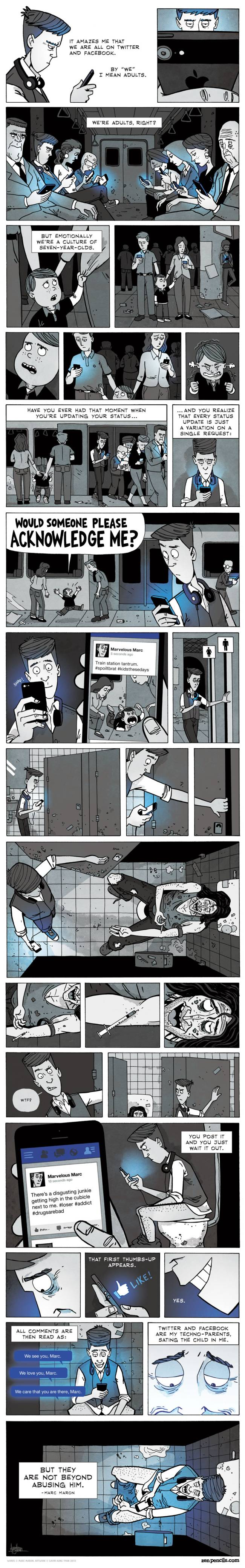 Bande dessinée sur la dépendance aux réseaux sociaux : the social media generation par Marc Maron