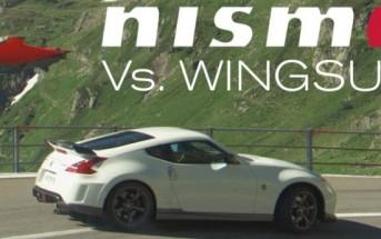 Course Nissan 370Z Nismo vs. homme volant en wingsuit [Basejump]