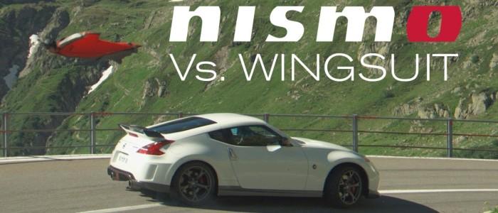 battle nissan 370z nismo vs homme volant en wingsuit