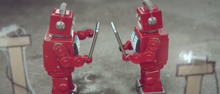 idiots : robots rouges qui caricaturent iphone et smartphones