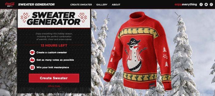 Sweater Generator : le générateur de pulls moches de Noël par Coca Cola Zero