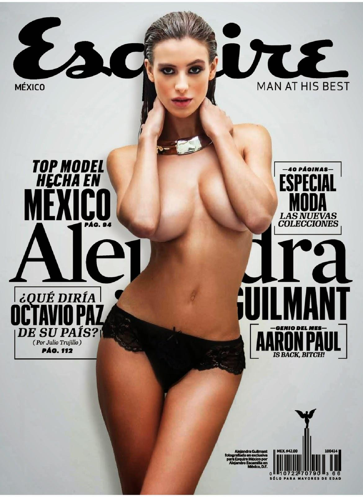 Alejandra Guilmant nue et topless en couverture du magazine esquire mexique
