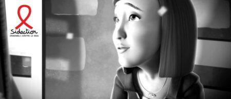 sidaction 2014 : pub d'animation en noir et blanc avec des enfants
