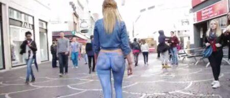 bodypaint jean : une fille nue dans les rues de Lille
