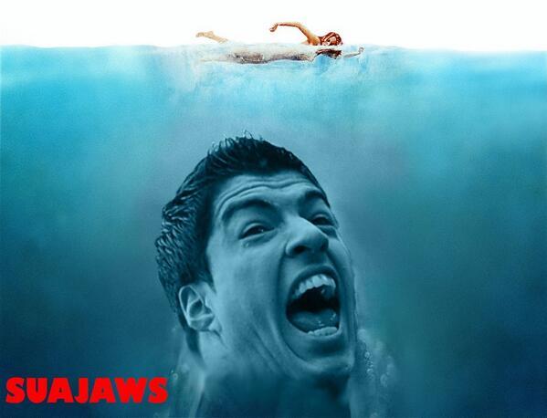 parodie morsure suarez : suajaws, les dents de la mer