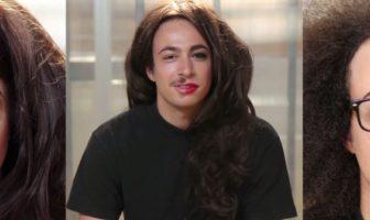 homme maquillage moité du visage en femme
