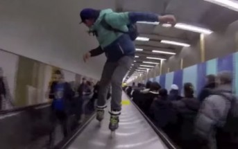 Warren Digne fait du roller dans le métro à Paris