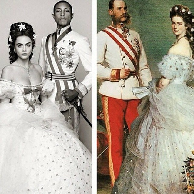 Pharrell Williams et Cara Delevingne ressemblent à l'empereur François-Joseph Ier d'Autriche et à l'impératrice Elisabeth d'Autriche (Sisi)