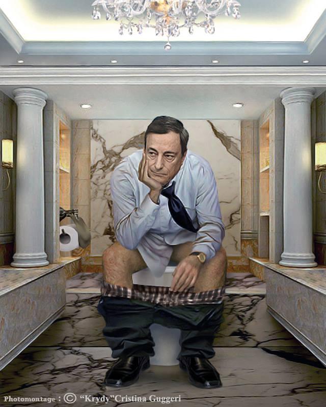 Mario Draghi, homme politique italien et sur les W.C.