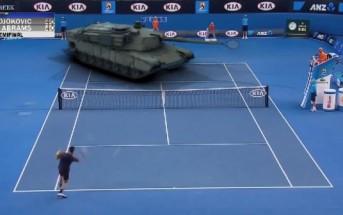 Djokovic joue au tennis face à un tank Abrams