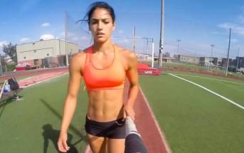 L'athlète sexy Allison Stokke saute à la perche avec une GoPro
